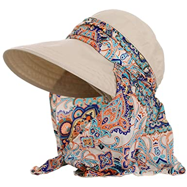 6d2c0002 Lanzom Women Lady Wide Brim Cap Visor Hats UV Protection Summer Sun Hats  (Beige): Amazon.in: Clothing & Accessories