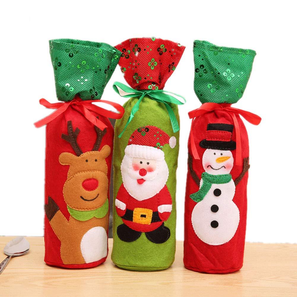 Queta 3pcs Decorazione Natalizia per Bottiglia di Vino Sacchetto di Vino Tintura Bottiglie di Vino Copertura Copertura della Bottiglia di Vino per la Decorazione di Natale Festa a casa
