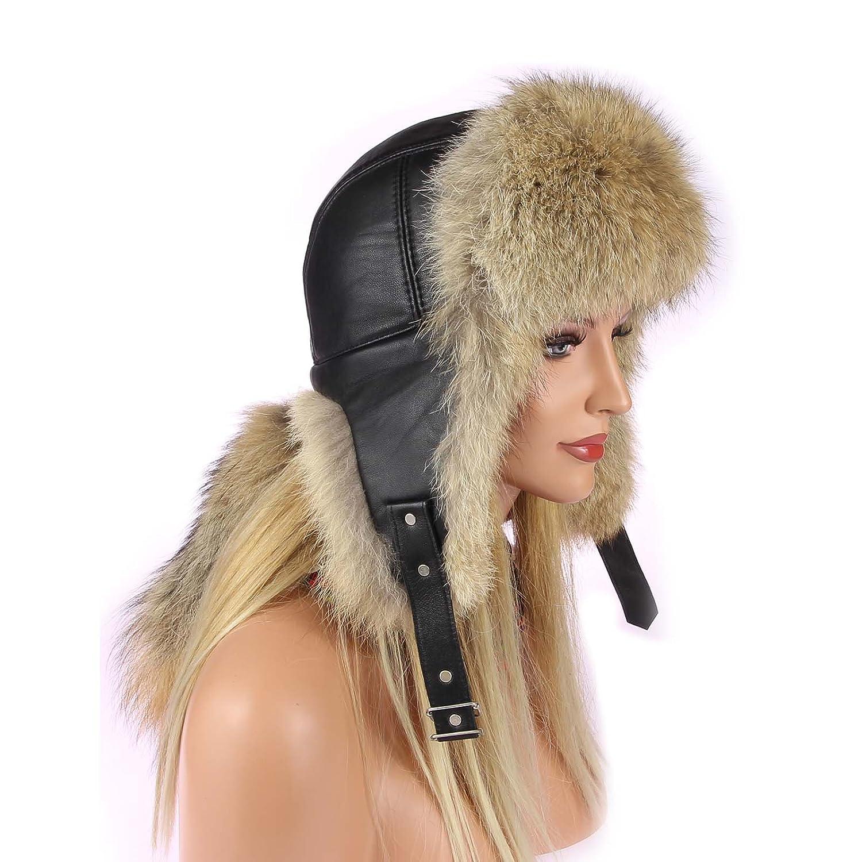 Unisex Coyote Mütze Pelzmütze Fellmütze Fliegermütze Wintermütze Skimütze Uschanka Polarmütze Aviator Russische Mütze Echt Fell