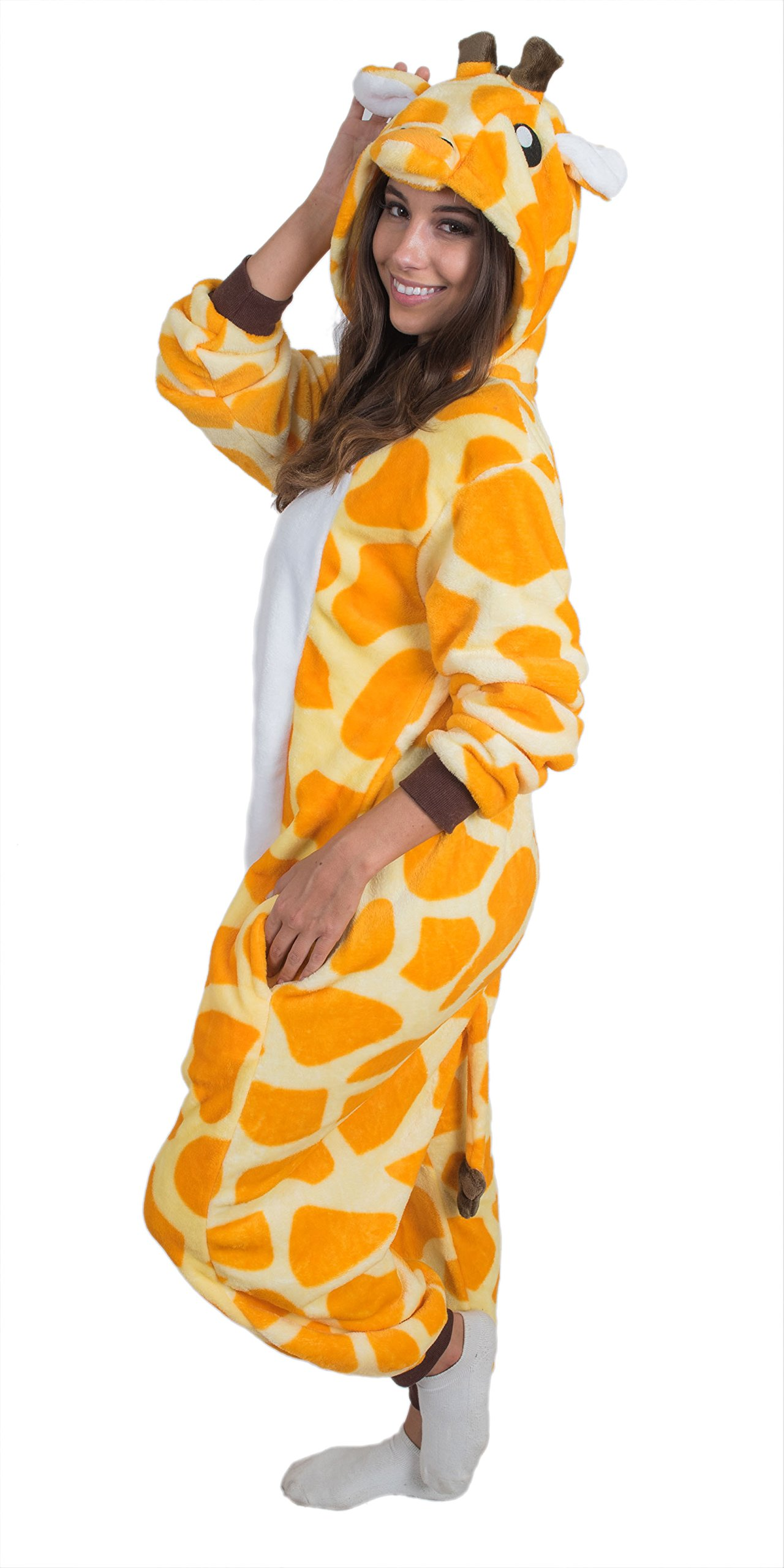 Bad Bear Brand Adult Onesie Giraffe Animal Pajamas Comfortable Costume With Zipper and Pockets (X-Large)