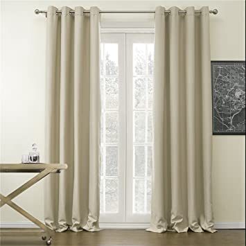 IYUEGO Wide Curtains 120Inch 300Inch For Large Windows Classic Solid Polyester Grommet Top Blackout