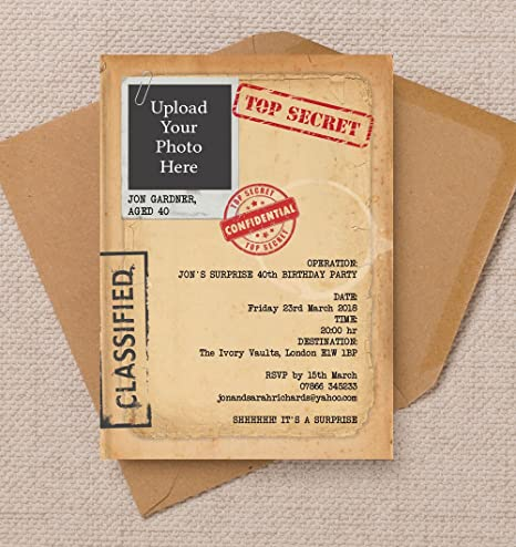 Personalised Top Secret File Birthday Invitations With Envelopes Pack Of 10