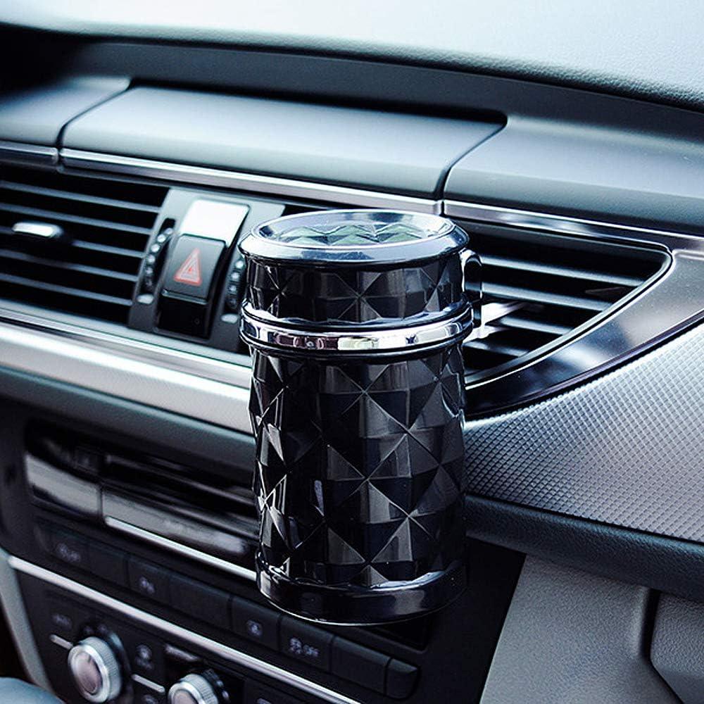 Schwarz Besylo Auto-Aschenbecher,2pcs Easy Clean Up Abnehmbarer Autoaschenbecher mit LED-Licht mit Klappdeckel selbstverl/öschender Aschenbecher f/ür Autos Van Outdoors Camping