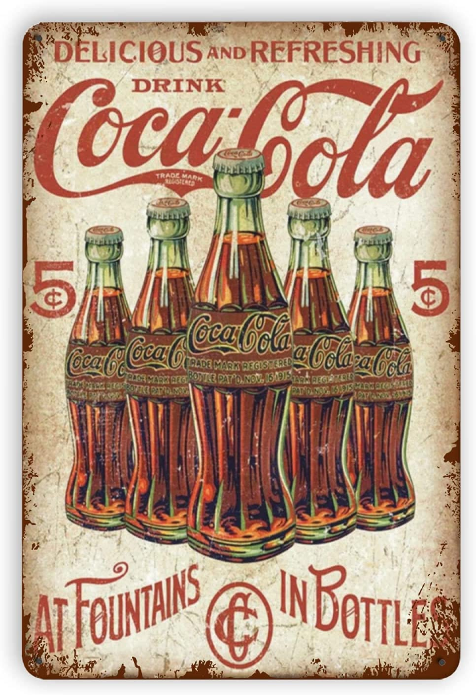 Pizigci Delicious and Refreshing Drink Coca Cola Metal Vintage Man Cave Tin Sign Wall Decor Fashion Garage Tin Sign Wall Plaque Poster for Home Decor, Bars, Cafes Pubs,12x8 Inch
