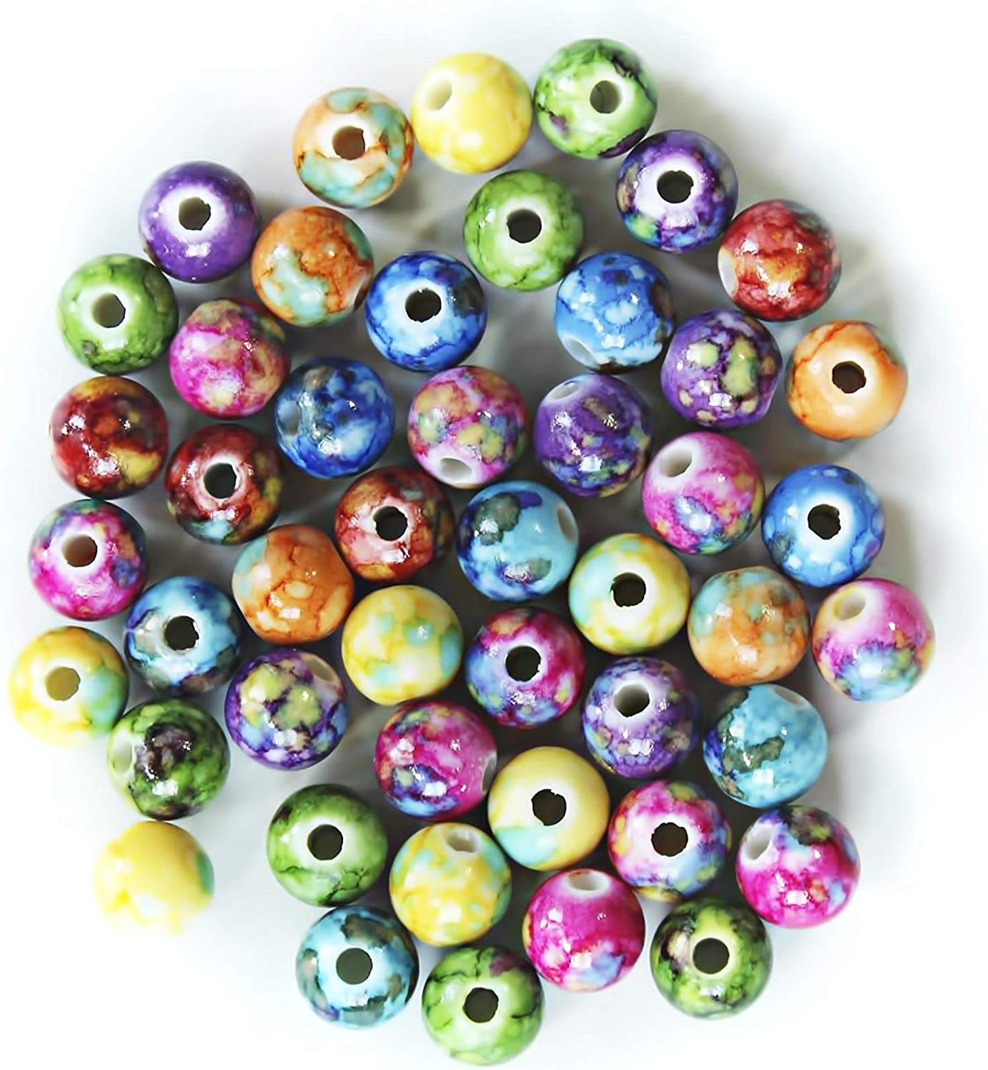 ALL in ONE 10mm Mixed Color Plastic Loose Beads with Nebula Pattern for DIY Craft Jewelry Making 44g/100pcs
