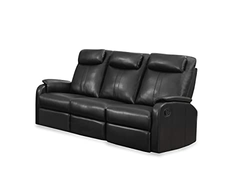 Monarch Specialties Black Bonded Leather Reclining Sofa