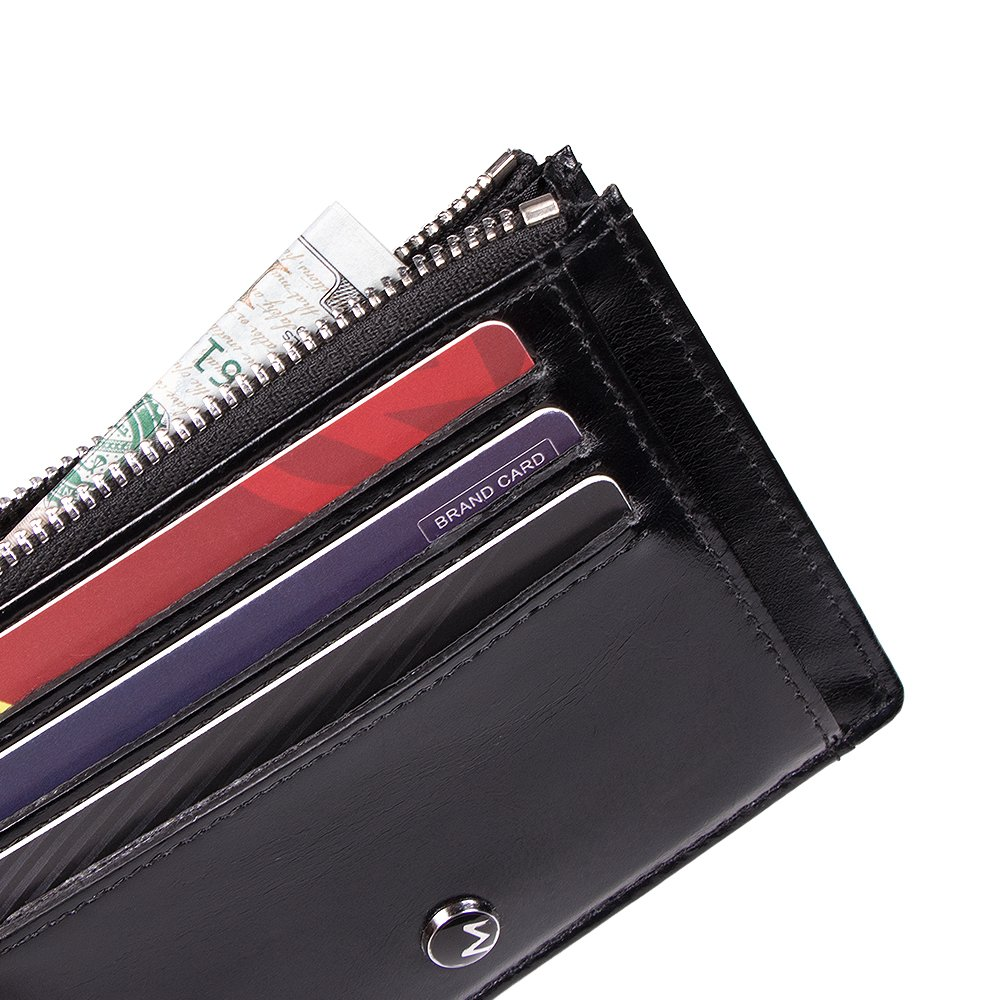d7fe55581cc7 OMcolor Genuine Leather Zip Credit Card Holder Wallet with ID Window ...