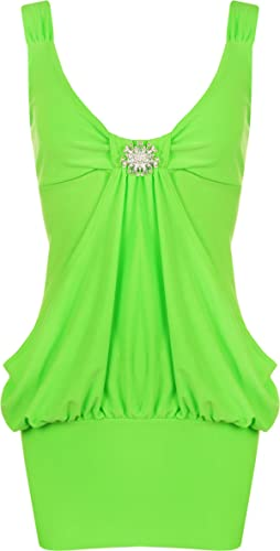 GirlzWalk ® Women Plain Diamante Broach Drape Mini Party Dress