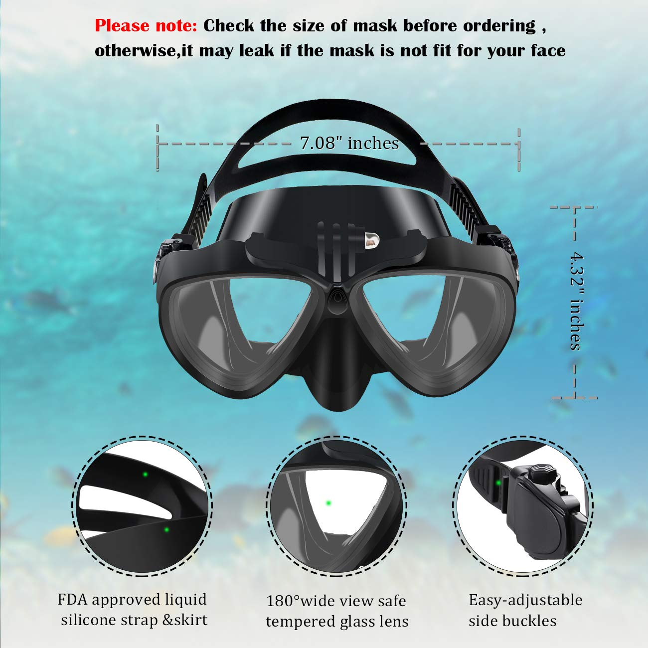 OMGear Snorkel Set Snorkeling Gear Package Diving Set Premium Silicone Dive Mask Snorkel Equipment Goggles Anti-Fog Anti-Leak Neoprene Mask Strap Scuba Diving Freediving Spearfishing Swimming