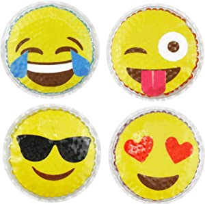 Hot Cold Kids Emoji Boo Boo Ice Packs (4 Pack) by FOMI Care   Fun Children's Gel Bead Wrap   Pain Relief for Kids Injuries, Wisdom Teeth, Tired Eyes, Headaches   Reusable   4 Inches Each