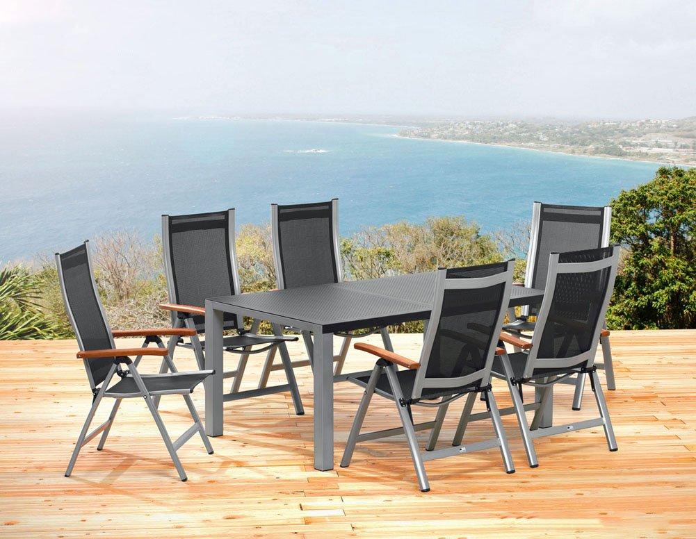 1 gartentisch 160 cm und 6 klappsessel sun garden ass. Black Bedroom Furniture Sets. Home Design Ideas