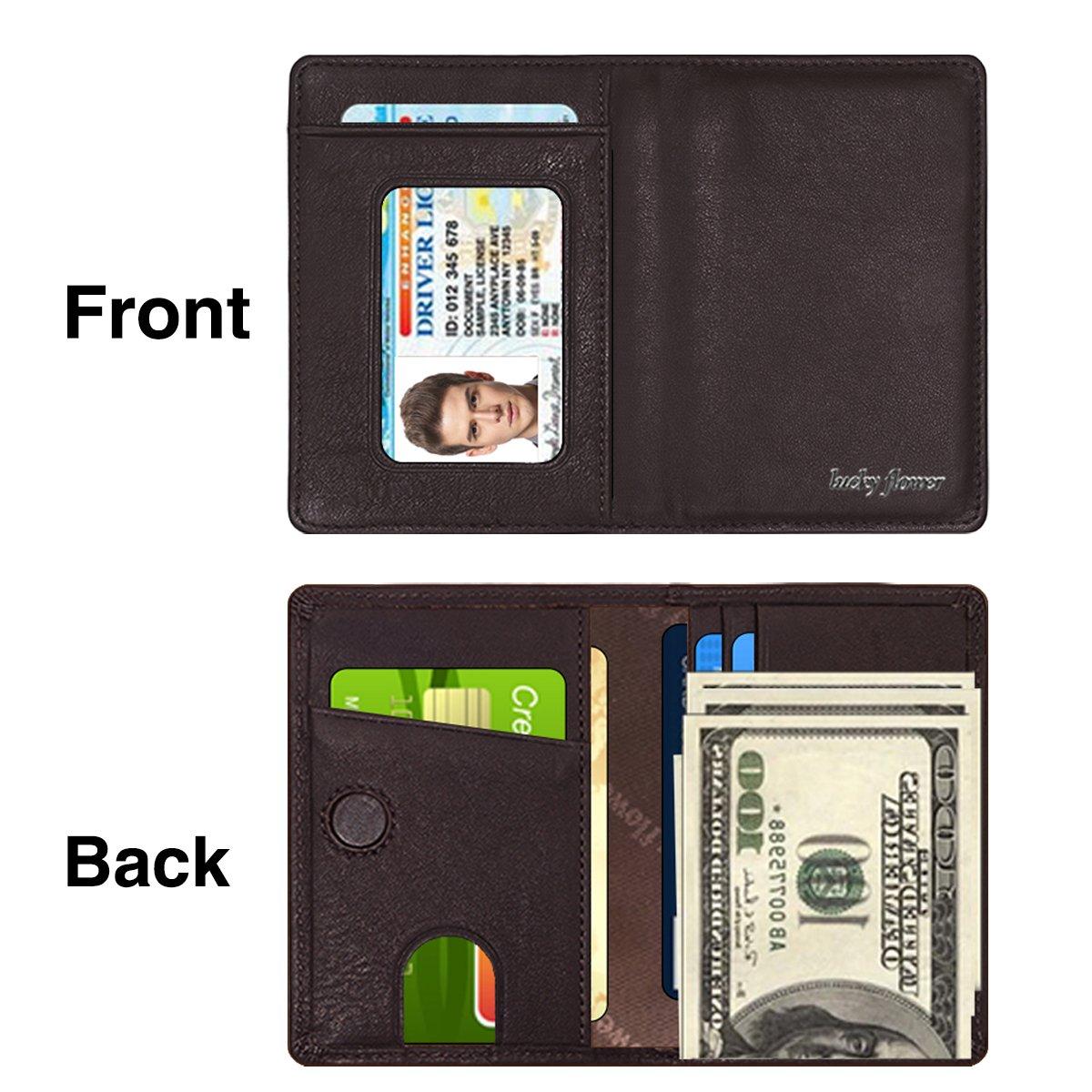 LUCKY FLOWER RFID Blocking Travel Wallet for Men,Minimalist Genuine Leather Slim Bifold Card Holder Purse(Coffee) by LUCKY FLOWER (Image #1)