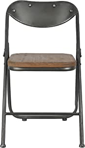 Décor Therapy Set of 2 Vintage Seat Folding Chairs, Gun Metal and Natural Wood