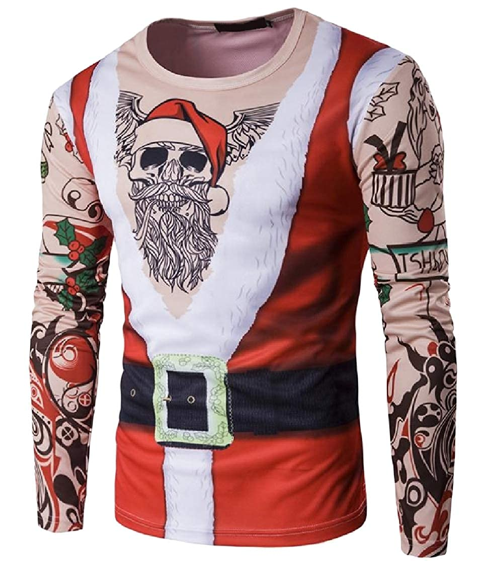 ColourfulMen Christmas Floral Crew Neck Long-Sleeve Casual Pullover T-Shirt Top