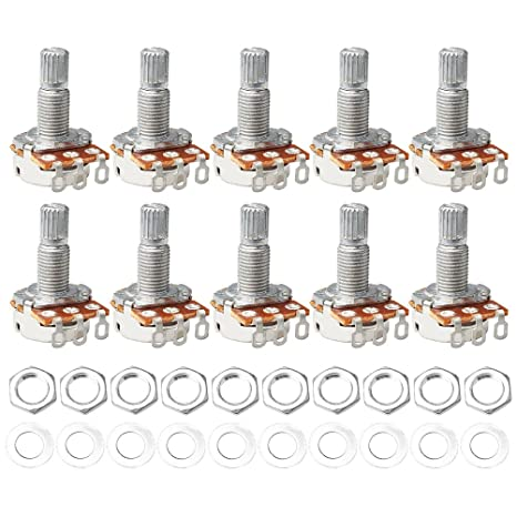 wenx Potenciómetro giratorio para guitarra eléctrica (10 piezas, A500K OHM, con interruptor de