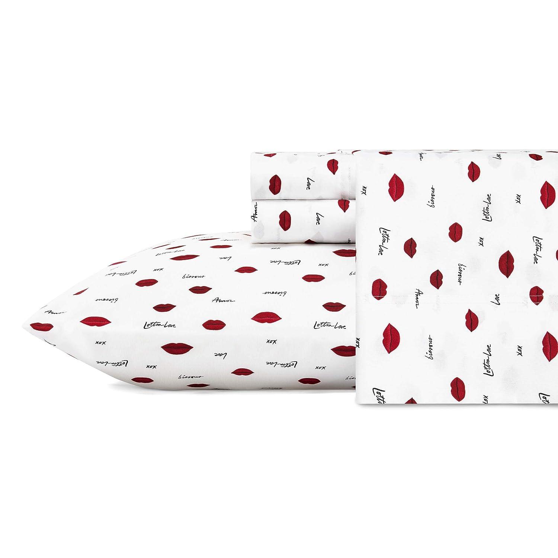 Betsey Johnson Love Lips Sheet Set, King, Red