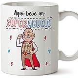 MUGFFINS Tazas para Abuelos – AQUÍ Bebe UN Super Abuelo – Taza Desayuno 350 ml Idea