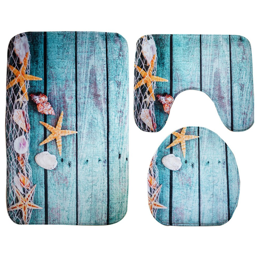 Seashells Bath Mat Non-Slip 3 Piece Toilet Mat Set Starfish Floor