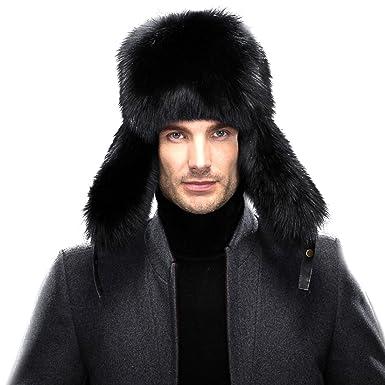 d160157be76c5 Amazon.com  URSFUR Men s Leather   Fox Fur Trapper Hat Russian Ushanka Caps   Clothing