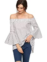 SheIn Women's Off The Shoulder Bell Sleeve Striped Blouse