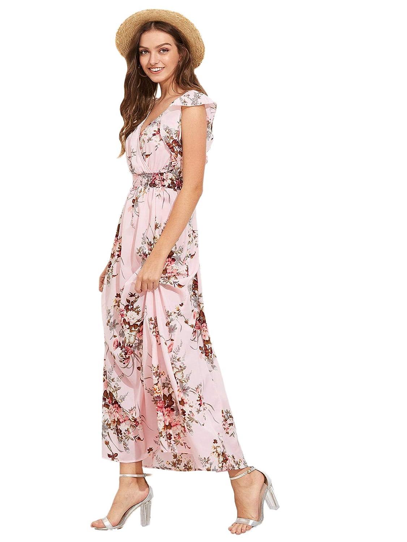 20e14851d0172 Milumia Womens Wrap V Neck Sundress Floral Boho Party Wedding Empire Waist  Maxi Dresses