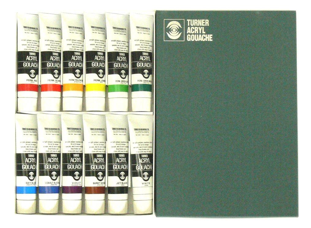 Turner Acrylic Gouache 40ml 12 color set (japan import)