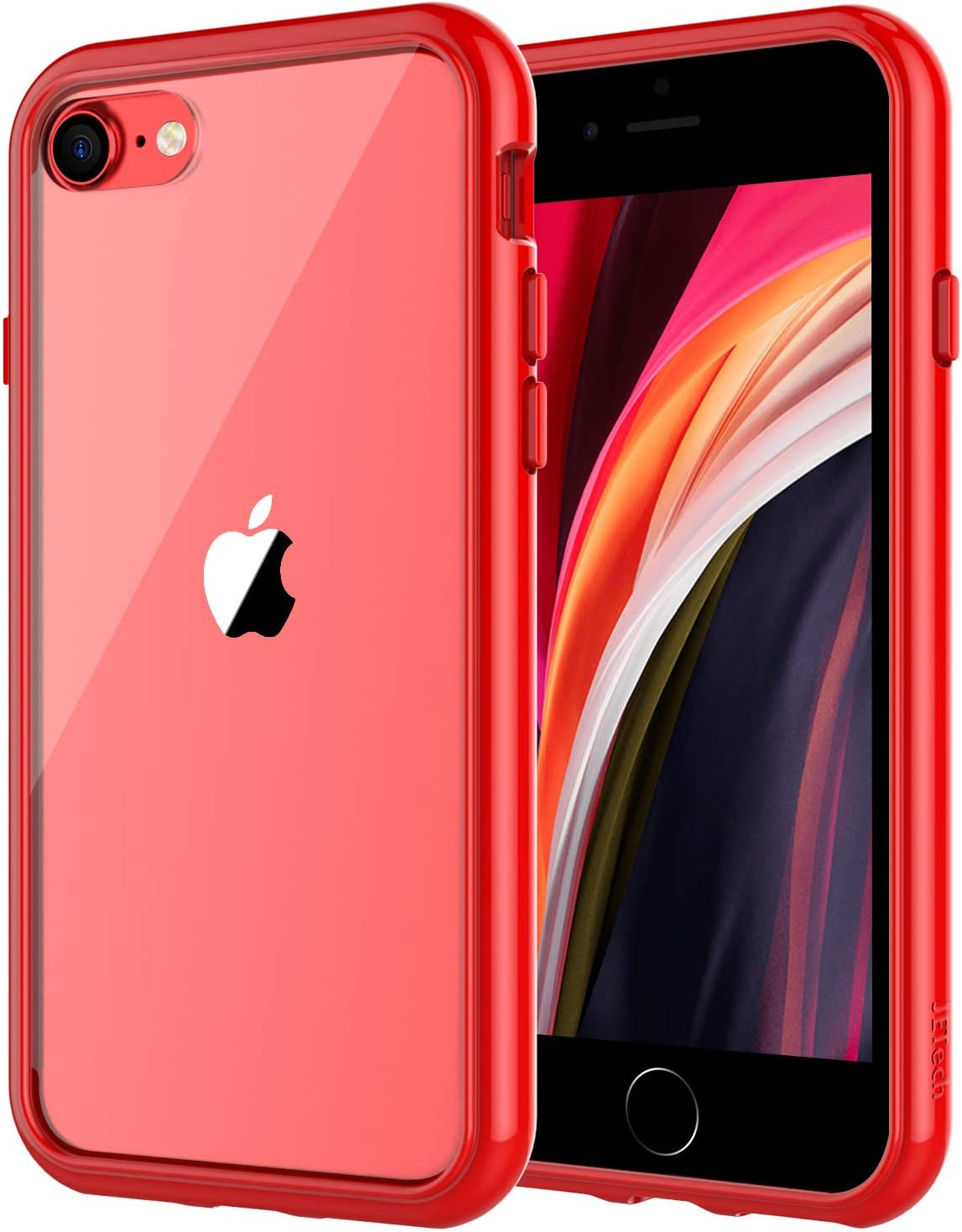 JETech Case for Apple iPhone SE 2nd Generation, iPhone 8 and iPhone 7, 4.7-Inch, Shockproof Bumper Cover, Anti-Scratch Clear Back, Red