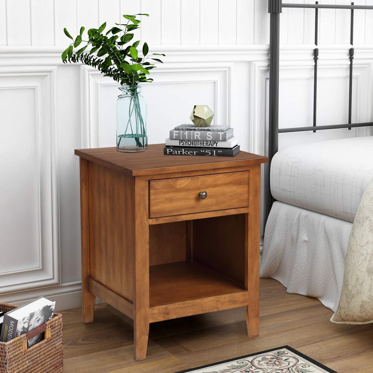 SSLine Nightstand End Table,Solid Wood Bedside Table with Drawer and  Storage Shelf,Sofa Couch Side Table Coffee Table Accent Table for Bedroom  Living
