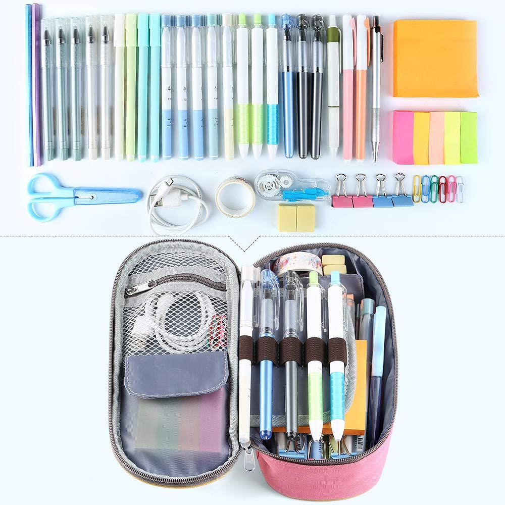 Homecube Pencil Case Big Capacity Pencil Bag Makeup Pen Pouch Durable Students Stationery with Double Zipper Pen Holder for School//Office Green
