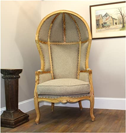 Incroyable The Kingu0027s Bay Antique Beige Dome Porters Chair W Natural Finish, French  Balloon Bonnet Canopy