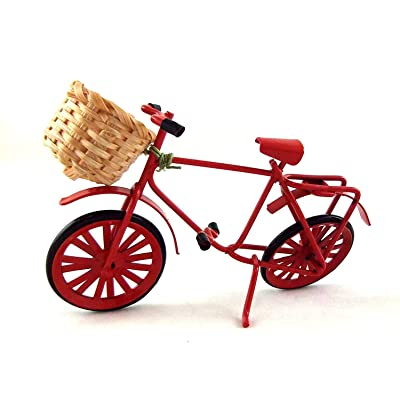 Melody Jane Dolls Houses House Miniature Garden Shop Accessory Red Shopping Bike Bicycle W Basket: Toys & Games