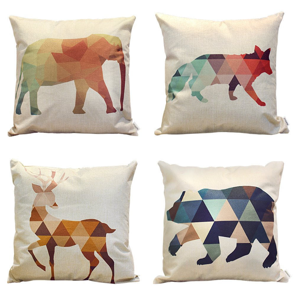 HIPPIH 4 Packs Square Pillow Cover - 16 X 16 Inch Decorative Throw Pillowcase, Geometric Animals
