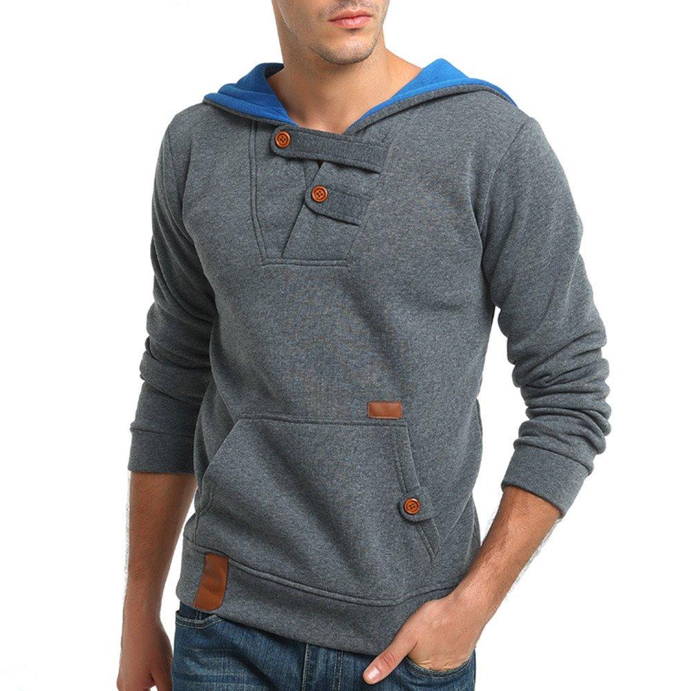 Men's Hoodies, FORUU Casual Long Sleeve Pocket Button Sweatshirt Blouses Outwear Men's Hoodies ZYH20180806