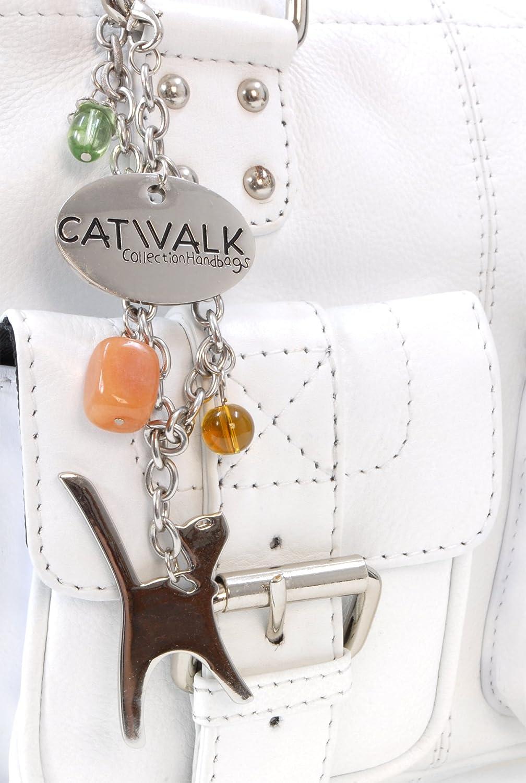 Catwalk Collection handväskor – läder – axelväska – CAROLINE Vit