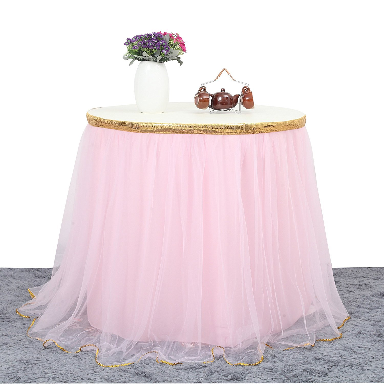 Tutu Table Skirt,MineSha 4.5 Yards Handmade Fluffy Pink with Golden Brim Tutu Table Skirt for Rectangle or Round Tables for Party Decoration, Meetings, Birthdays, Wedding, Baby Shower