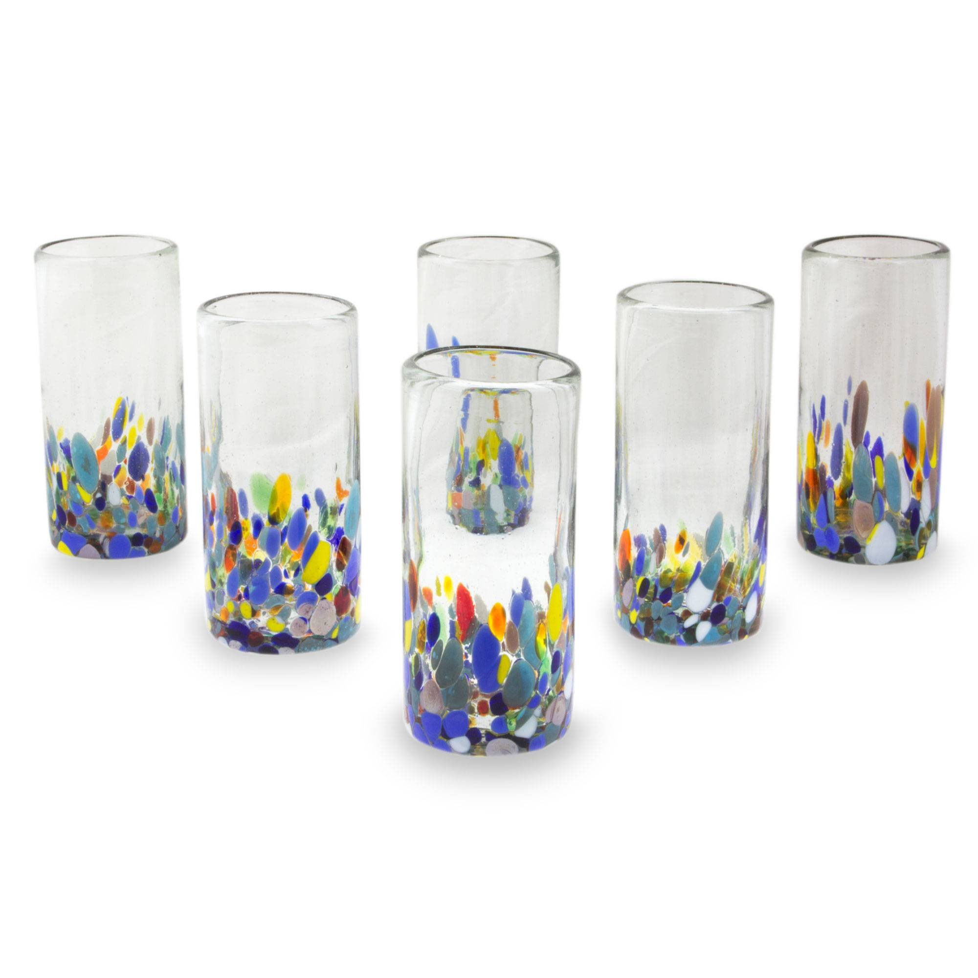 NOVICA Multicolor Eco-Friendly Hand Blown Glass Highball Glasses, Confetti Festival' (set of 6)