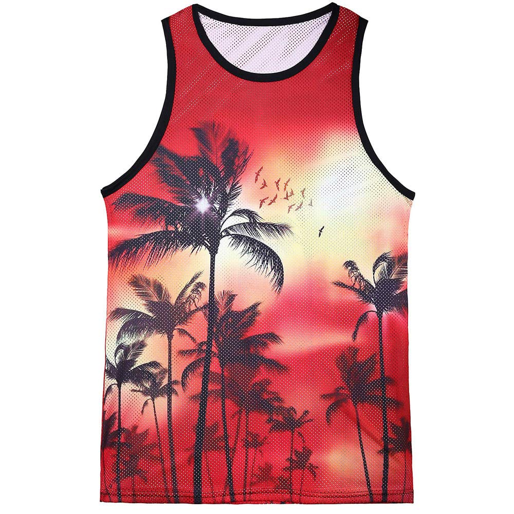 Yamally_9R_Men Tops Summer Vest Plus Size for Men,Yamally 2019 New Printed Hawaiian T Shirt Slim Sleeveless Tank Top Blouse