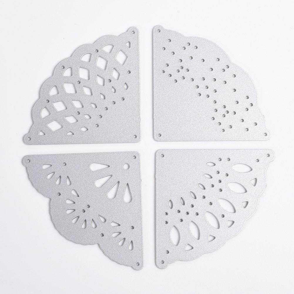 Taloyer 4pcs Floral Corners Metal Cutting Dies Creative Stencil Template Moulds for DIY Scrapbooking Album Paper Craft Card Making