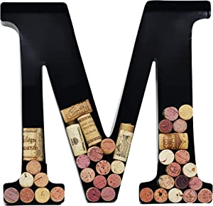Metal Wine Cork Holder Monogram Decorative Wall Letter (M)