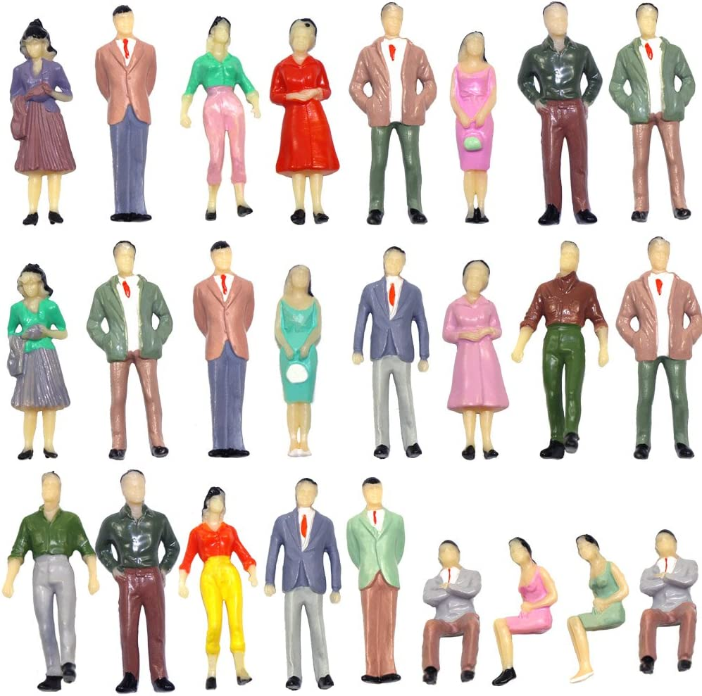 P50 50 PCs Model Trains Architectural 1:50 O Scale Painted Figures O Gauge Sitting and Standing People for Miniature Scenes New