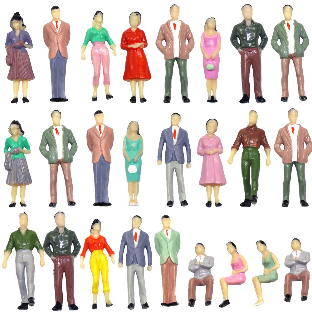 P50 50pcs Model Trains Architectural 1:50 Scale Painted Figures O scale sitting and standing people for miniature scenes New B07DW65DYL