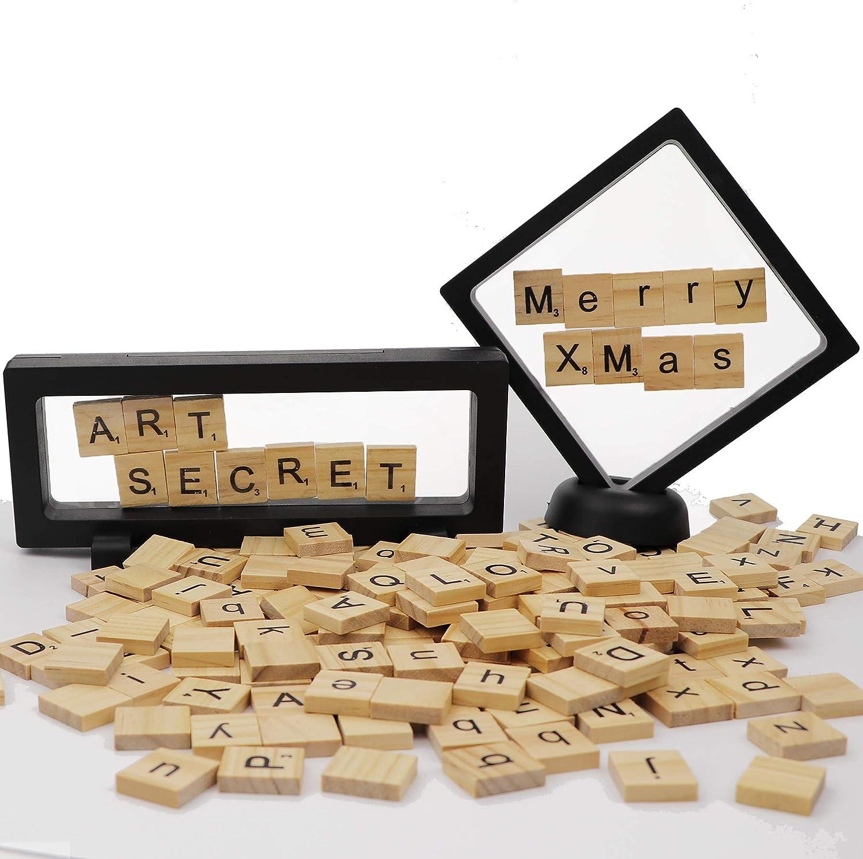200 Piezas Scrabble Azulejos de Madera para Letras, con Expositor 3D, Caja de Soporte para Manualidades, decoración de Festival: Amazon.es: Juguetes y juegos