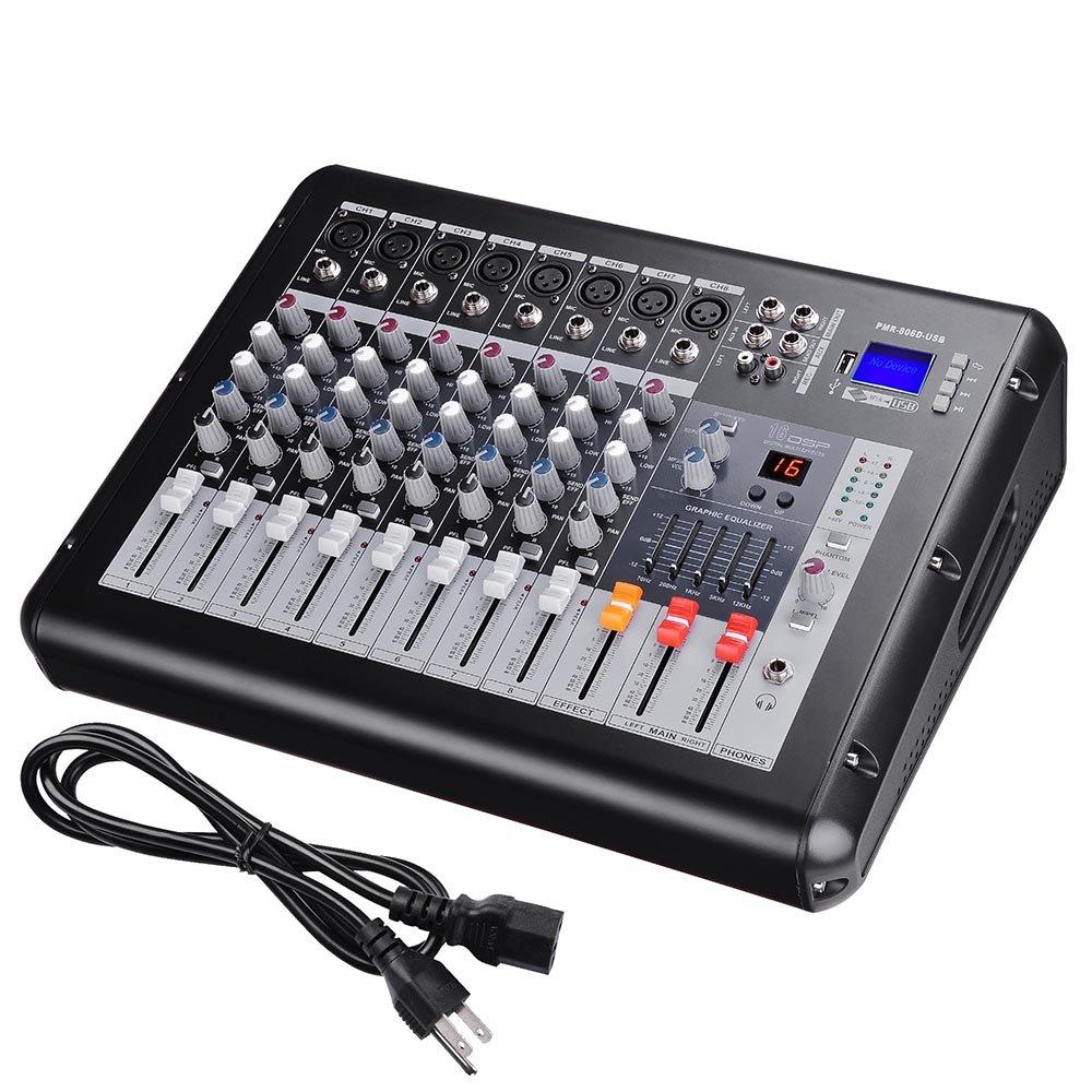 AW 8 Channel Pro Powered Mixer w/ USB Slot DJ Power Mixing 110V 16.5''x13.2''x5.3''