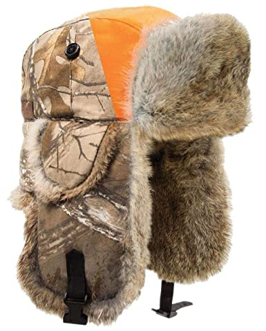 b1f315db44c Amazon.com  Yukon Tracks Alaskan Fur Hats - Blaze Orange and Camo Options   Clothing