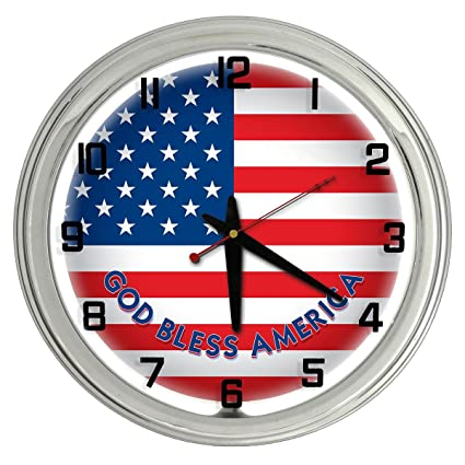 cff9082b6eb Image Unavailable. Image not available for. Color  American Flag White Neon  clock ...