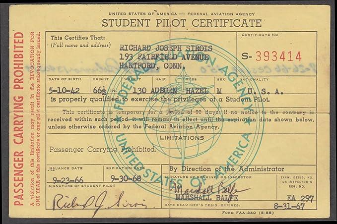 FAA Student Pilot Certificate Cessna 150 Passenger Carrying ...