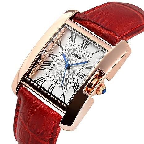 Números Romanos Reloj mujer impermeable oro tono blanco esfera rectangular elegante vestido reloj de pulsera para