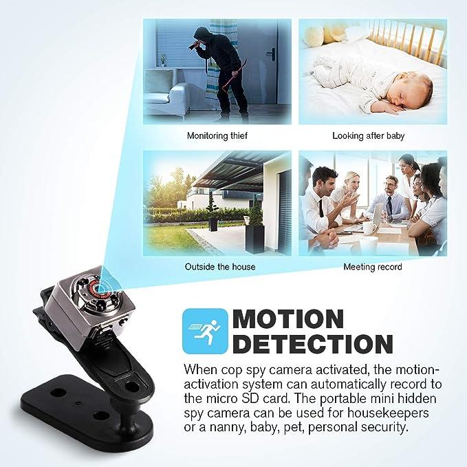 Mini C/ámara Esp/ía Oculta Mini C/ámara de Vigilancia con Tarjeta SD de 32GB 1080P HD Grabadora de Video Port/átil Camaras de Seguridad con Detecci/ón de Movimiento IR Visi/ón Nocturna Interior//Exterior