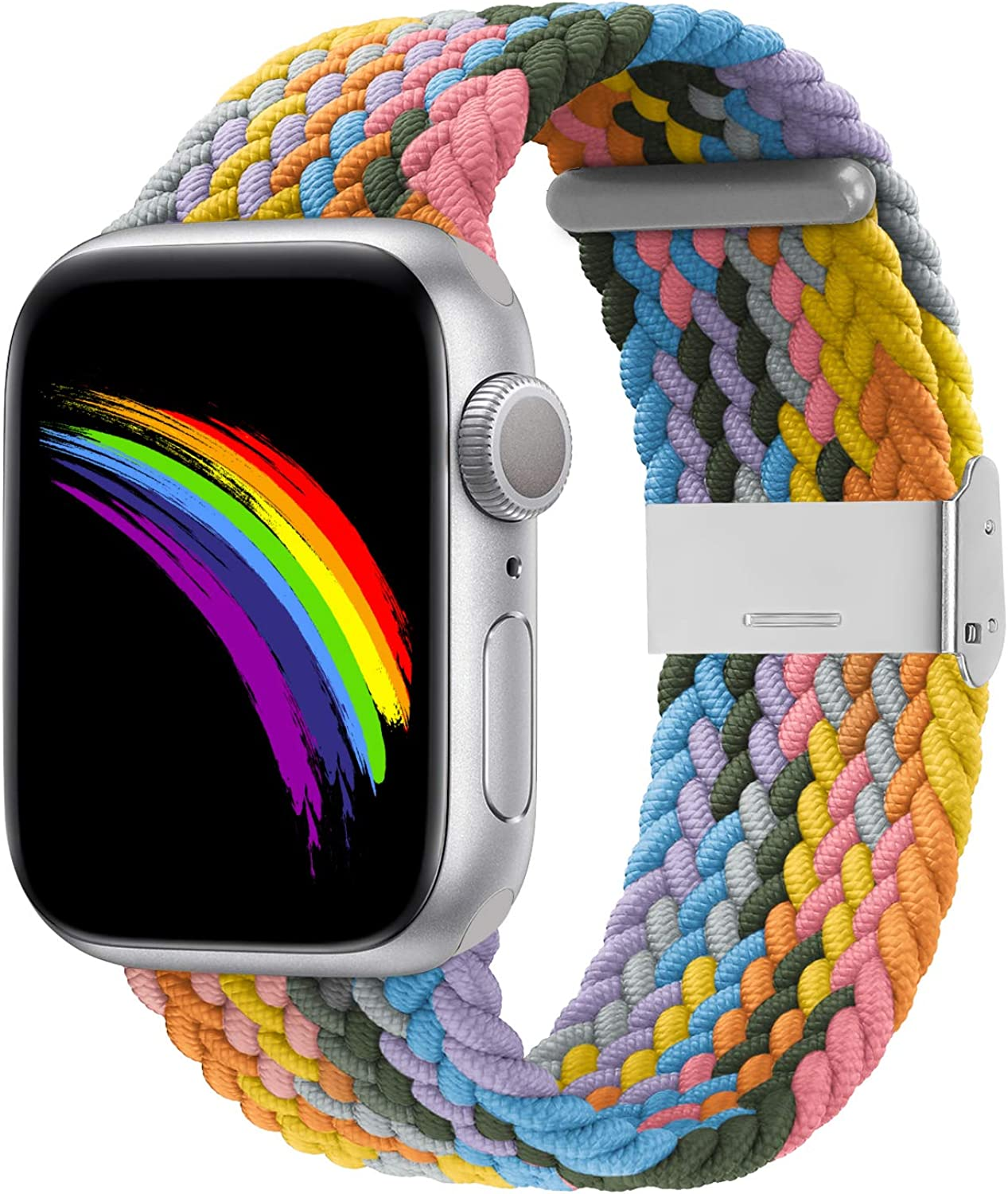 Bagoplus Compatible with Apple Watch iWatch Bands 38mm 40mm 42mm 44mm Women Men, Adjustable Braided Solo Loop Stretchable Elastics Sport Wristband for iWatch Series 6/SE/5/4/3/2/1 with Buckles