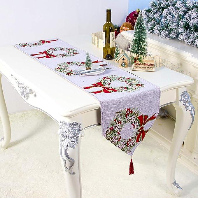 Fontee Corredores de Mesa Navidad, 180x35cm Lino Guirnalda de Navidad Impresa Estilo Nórdico Camino de Mesa Decorativo para Decoraciones Navideñas